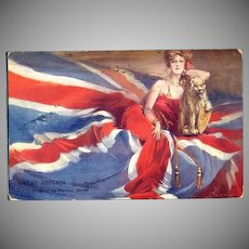 Great Britain Flags of the Nation series Postcard 1907 Signed