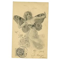 French Lithographic Butterfly Lady Postcard No 1..1902