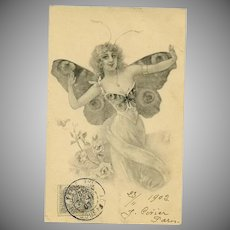 Antique French Lithographic Butterfly Lady Postcard No 1..1902