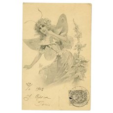 Antique French Lithographic Butterfly Lady Postcard No 2..1902