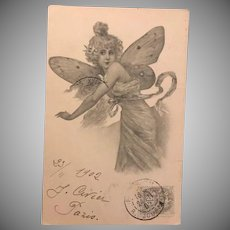 Antique French Lithographic Butterfly Lady Postcard No 3..1902