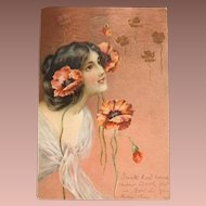 English Girl with Poppies Gilded Postcard 1903 Art Nouveau