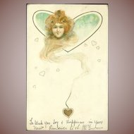 Red Head with Trailing Hearts Art Nouveau German Lithographic Postcard 1905.