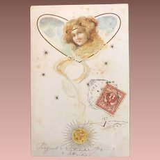 Red Head with Trailing Scarf and Sun Art Nouveau German Lithographic Postcard  1904.