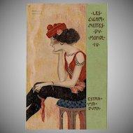 Rare Kirchner French 'Les Cigarettes du Monde' Series Postcard #IV 'Estra Ma Dura c1900.
