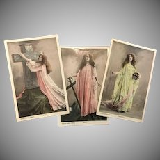 Three Virtues Real Photo Postcards Faith, Hope, Charity, 1907