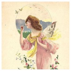 French Butterfly Lady in Pink Lithographic Advertising Postcard Art Nouveau era c1900