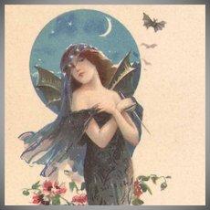 French Bat Lady Lithographic Advertising Postcard Art Nouveau era c1900.