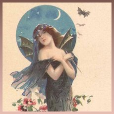 French Bat Lady Lithographic Advertising Postcard Art Nouveau era c1900.