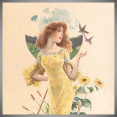 French Maiden in Yellow Lithographic Advertising Postcard c1900