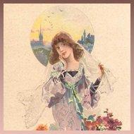 French Bride in Lavender Lithographic Advertising Postcard Art Nouveau era c1900