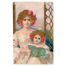 SALE: Hand Gilded English Art Nouveau Chromographed Postcard 1907