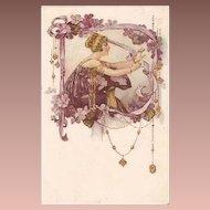 Rare Malugani Art Deco Lady in Violet Lithographic Italian Floral Motif Postcard c1917