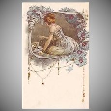 Rare Malugani Art Deco Lady in Cornflowder Blue Lithographic Italian Floral Motif Postcard c1917