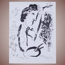 Chagall French Lithograph 'Devant le Tableau' 'In Front of the Picture' 1963.
