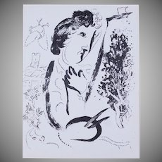 SALE: Chagall Self Portrait Black and White French Lithograph 'Devant le Tableau' 'In Front of the Picture' 1963.