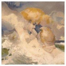 Rare German Storm Cloud Man Embracing a Beautiful Ocean Wave Maiden. c1900.