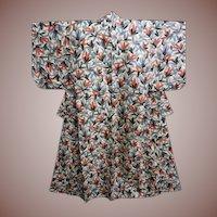 Japanese Silk Meisen Kimono Pink and Grey Flowers c1912 Antique