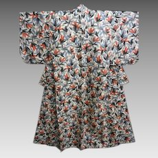 Antique Japanese Silk Meisen Kimono Pink and Grey Flowers c1912
