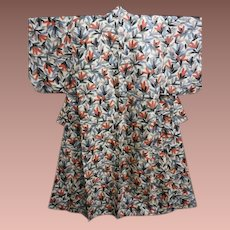 Antique Japanese Silk Meisen Kimono Pink and Grey Flowers c1912