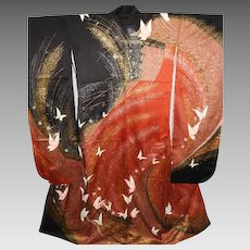 Rare Japanese Red and Black Silk Furisode Kimono Hand Painted and Embroidered Mid Century.