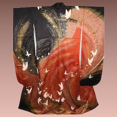 SALE: Japanese Red and Black Silk Furisode Kimono Hand Painted and Embroidered Mid Century. OAK