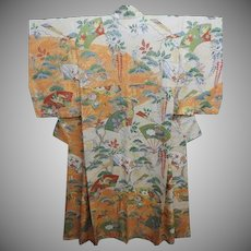 Beautiful Pure Silk Japanese Kimono with Fans Birds and Flowers c1960