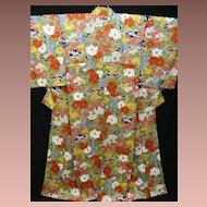 SALE:  'Springtime' Silk Kimono with Multi-color Camellia Garden . c1940