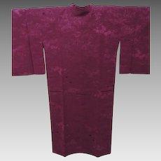 Deep Purple Japanese Silk Michiyuki Kimono Coat with Jacquard Self Pattern of Scenery.