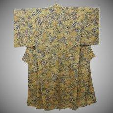 Antique Silk Japanese Tsumugi Kimono with Garden Pattern Taisho era c1912