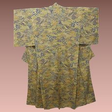Antique Silk Japanese Tsumugi Kimono with Garden Pattern Taisho era c1912