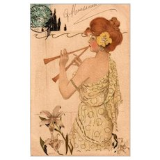 Art Nouveau French Postcard Girl with Double Cornet unsigned Kirchner 1904