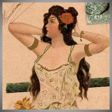 Art Nouveau French Postcard Girl with Long Black Hair unsigned Kirchner 1904