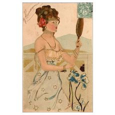 Art Nouveau French Postcard Girl with Gold Hand Mirror unsigned Kirchner 1904