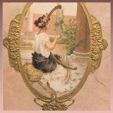 Gilded Silk Girl with Harp Postcard c1900