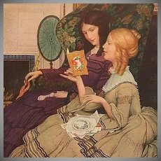 Valentine Ladies By a Fire American Artist Postcard c1912