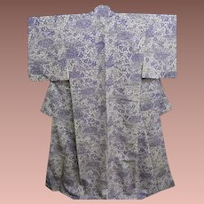 Silk Crepe Kimono with a Garden Design of Water and Flowers in Pastel Mauve and Purple.