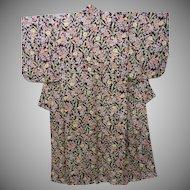 Art Deco Deep Burgundy Silk Crepe Kimono with Flowers and Leaves early Showa era