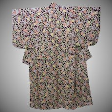 Art Deco Deep Burgundy Silk Crepe Kimono with Flowers and Leaves early Showa era