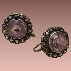 Edwardian English Amethyst Silver Marcasite Screw back Earrings.