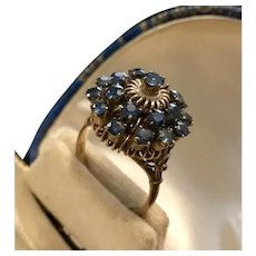 Vintage Thai Blue Sapphire Princess Ring 14K Gold. c1970