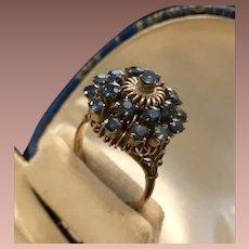Vintage Thai Blue Sapphire Princess Ring 14K Gold. c1970