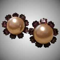 SALE: Sterling Silver, Amethyst and Faux Pearl Screw back Earrings. English.