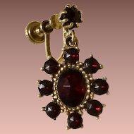 Garnet Glass and Gold Wash Dangle Earrings.,Edwardian Revival