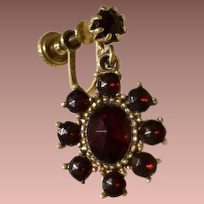 Garnet Glass and Gold Wash Dangle Earrings.,Edwardian Revival