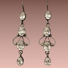 CZ and Silver Drop Dangle Earrings
