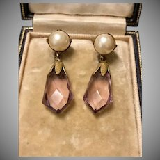 Victorian Amethyst and Faux Pearl Gold Wash Dangle Earrings.