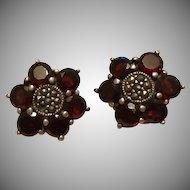 SALE: Garnet and Sterling Silver Etruscan Revival Clip Earrings.