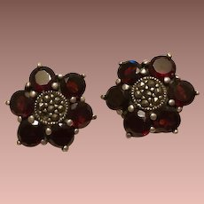 SALE: Garnet and Sterling Silver Etruscan Revival Clip Earrings.