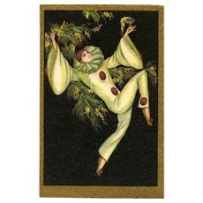 Italian Art Deco Pierrot Dancing Postcard Corbella c1930
